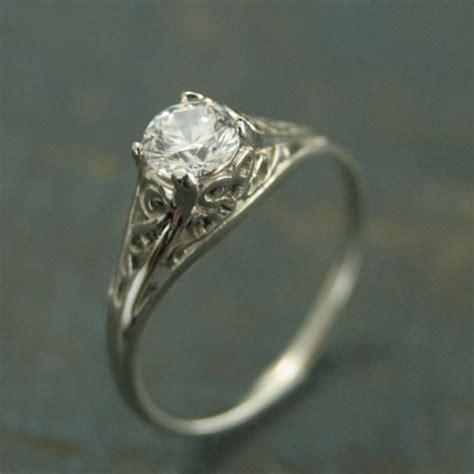 14k white gold vintage style filigree engagement ring