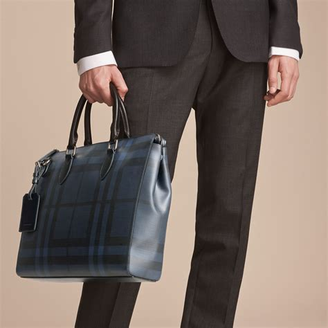 kemeja jumbo burberry black large check briefcase in navy black
