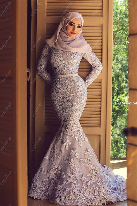 long sleeve lace prom dresses aliexpress com buy fashion elegant hijab long sleeves