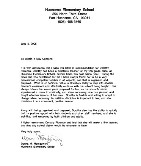 middle school recommendation letter image collections letter