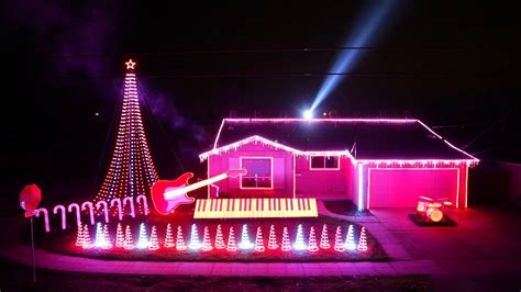 an elaborate christmas light display synced to the music