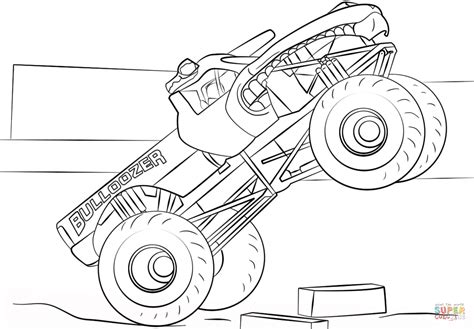 bulldozer monster truck coloring page  printable