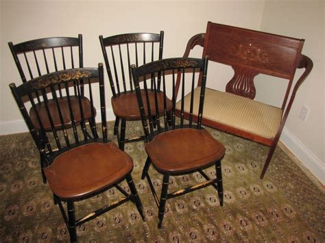 Hitchcock Dining Room Furniture by Antique Seat And 4 Hitchcock Dining Room Chairs 19th