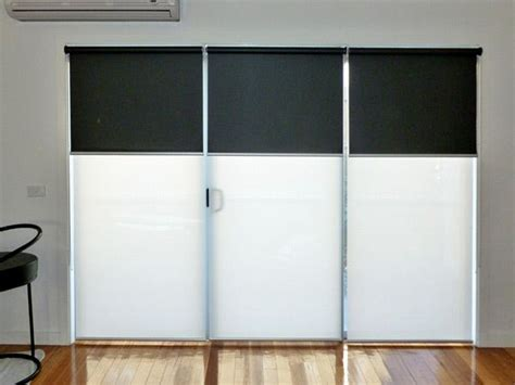 Roller Blinds For Sliding Glass Doors Blockout At Front Light Sunshade At Back Window Furnishings For Modern Apartments