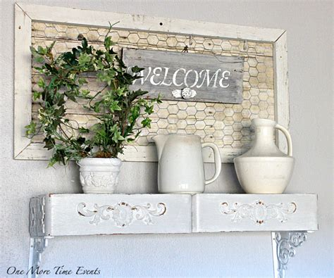 Beautiful Large Outdoor Christmas Wreaths #3: Welcome-Wall-Decor-Ivy-planted-wreath-welcome-sign-with-decorative-knob-rustic-framed-faux-wood-chicken-wire-iron-stone-pitchers-vintage-sewing-drawers-shelf.jpg