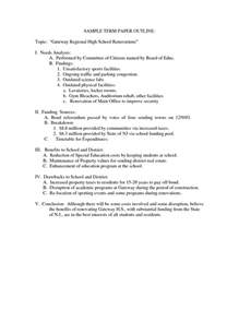 Term Paper Outline by Outline Of A Term Paper Sle Sles Of Self Introduction Paragraphs