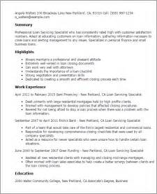 Loan Coordinator Sle Resume by Professional Loan Servicing Specialist Templates To Showcase Your Talent Myperfectresume
