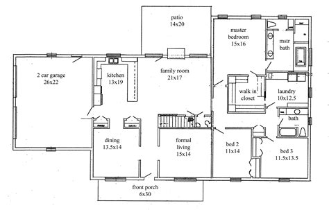 open floor plan ranch plans home deco plans