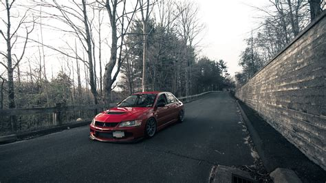 mitsubishi evo 8 red cars cities forests lancer evo ix mitsubishi evolution red