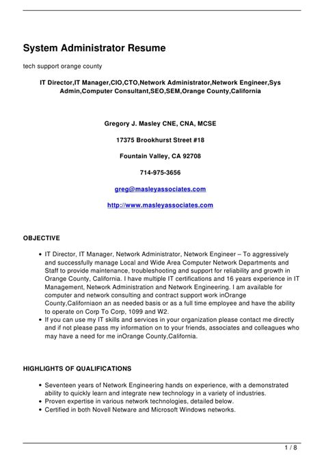 systems admin resume download linux sys administration sample