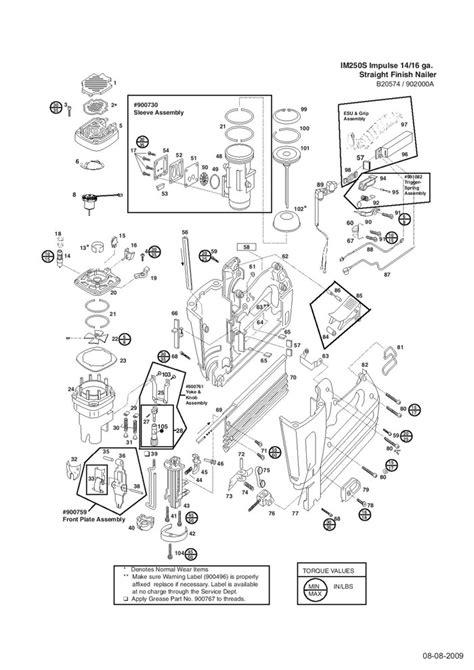 paslode framing nailer parts diagram paslode finish nailer new im250s spare parts
