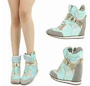 High Tops Wedge Heels Platform Sneakers Green Wedges