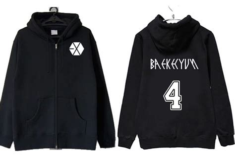 Sweater Hoodie Jaket Exo autumn winter kpop exo japanese concert same hoodie jackets exo member name printing zipper