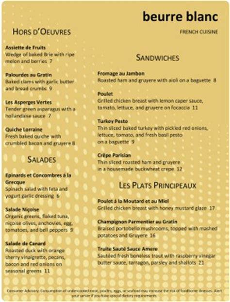 contemporary fine dining menu french menus