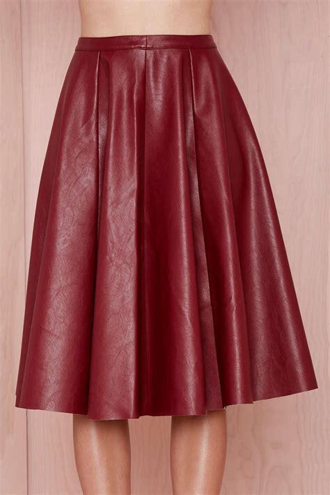 joa tara vegan leather skirt burgundy aewom