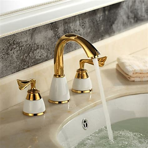 Brass Finish Bathroom Faucets by Ti Pvd Finish Brass Widespread Bathroom Sink Faucet