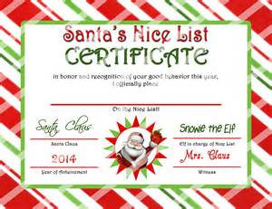 Santa Certificate Template by Santa List Certificate Www Imgkid The Image