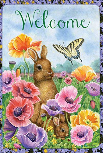 Toland Home Garden Welcome Bunny Toland Home Garden Bunny Poppies 12 5 X 18 Inch Decorative