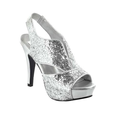 silver or black glitter formal prom high heel
