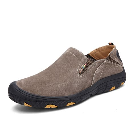 comfortable slip resistant work shoes men soft leather comfortable casual hiking shoes wear and