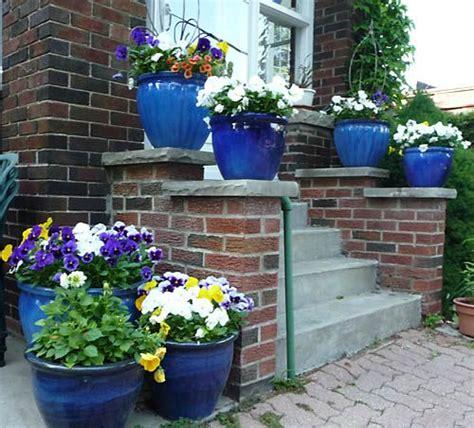Blue Garden Pots Cobalt Blue Flower Pots Them Gardening