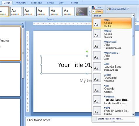 applying themes in powerpoint 2007 view and apply theme fonts theme font 171 editing format