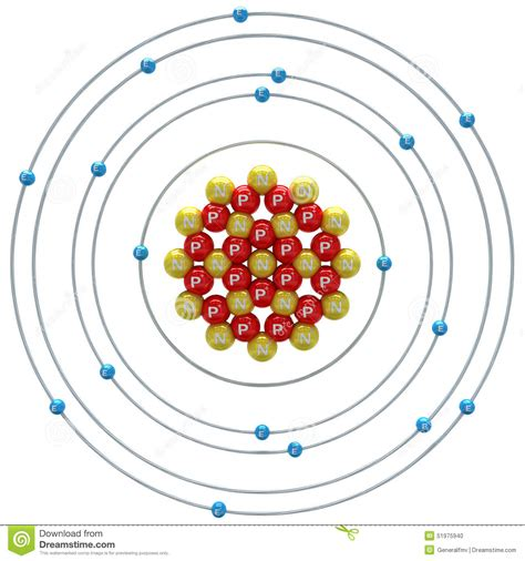 argon particle diagram argon unstable isotope atom on a white background stock