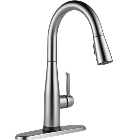 pull faucet delta essa touch2o technology single handle pull sprayer kitchen faucet with magnatite