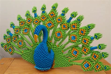 How To Make A 3d Peacock Out Of Paper - 3d origami peacock