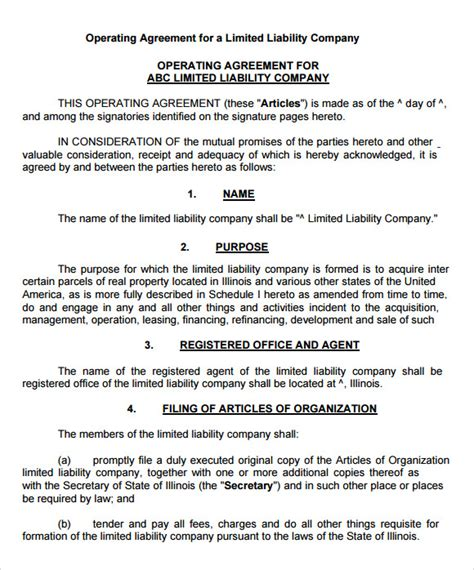 9 Sle Llc Operating Agreement Templates To Download Sle Templates Llc Articles Of Organization Template