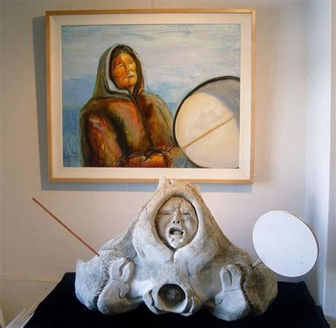 shaman fossil whalebone carving with painting by fejes picture of alaska house