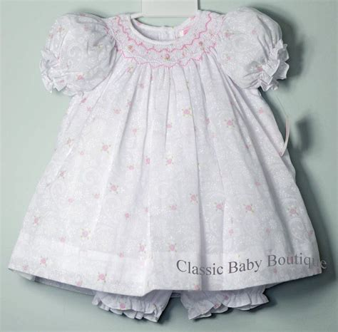 Dress Of The Day B With G Baby Doll Dress 2 by Petit Ami White Floral Overlay Smocked Bishop Dress
