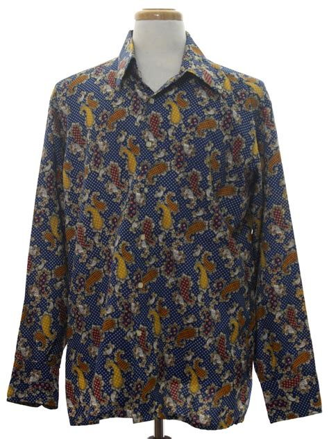 crazy pattern button up shirts vintage 70s print disco shirt 70s nicola mancini mens