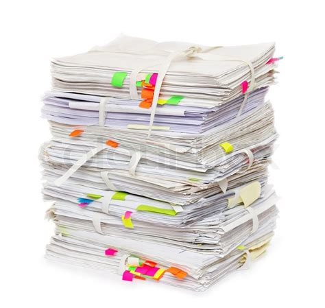 Of Paper - pile of official papers with color stickers stock photo