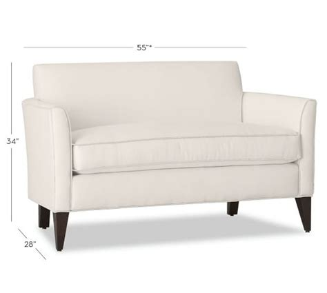 mini loveseat marcel upholstered mini sofa pottery barn