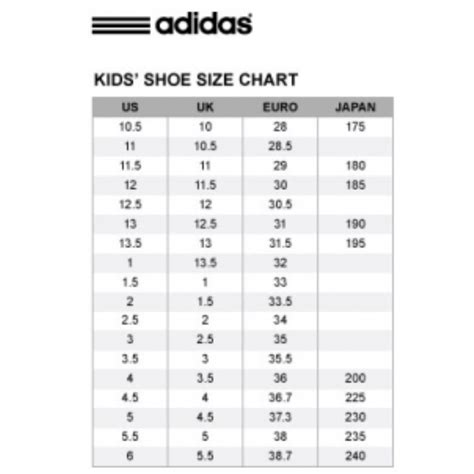 adidas kid shoe size chart cm kids