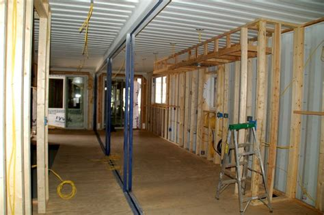 shipping container home interior construction