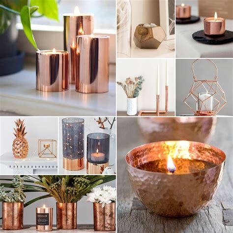 copper decor copper wedding candles