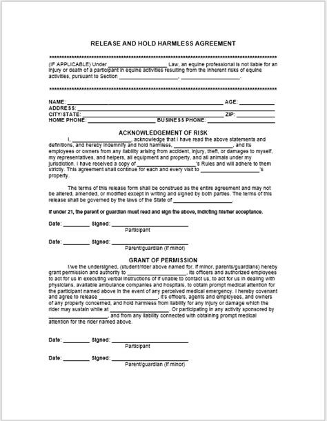 43 Free Hold Harmless Agreement Templates Ms Word And Pdfs Templatehub Hold Harmless Template