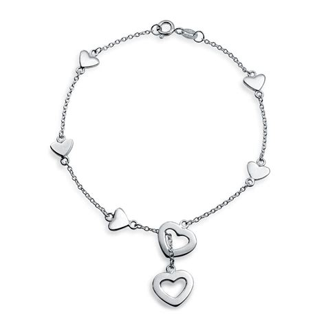 metal charms for jewelry 925 sterling silver charm lariat bracelet 7in