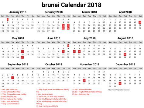 Calendar 2018 Brunei School 2018 Calendar Uk