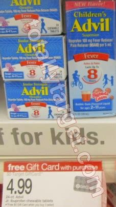 Target Gift Card Lost - new 1 50 1 children s advil coupon plus free 5 gift card wyb 3 as low as 1 57