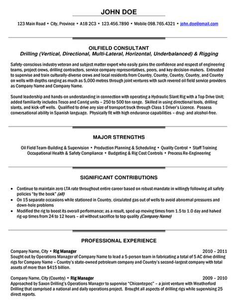 Rig Resume Template Rig Manager Resume Sle Expert Oil Gas Resume Sles Pinterest