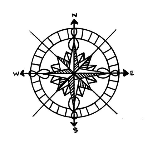 line drawing compass clipart best compass rose drawing clipart best