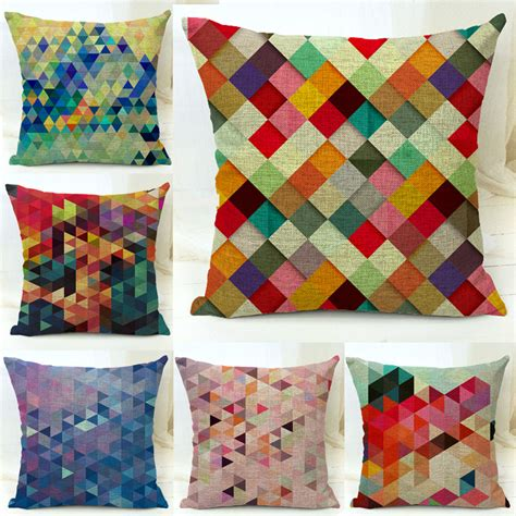 Cotton Blend Linen Decorative Throw Pillow Covers Colorful Colorful Pillows For Sofa
