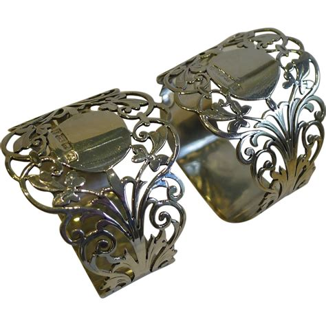 stunning pair antique sterling silver napkin rings