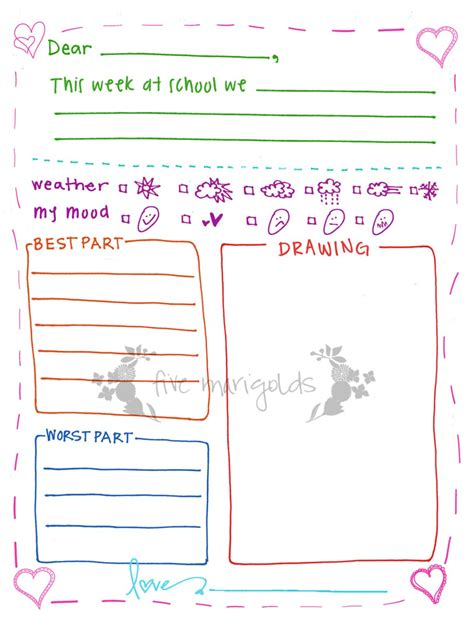 Free Printable Letter Writing Templates For Grandma Pen Pal Five Marigolds Letter Ideas Templates