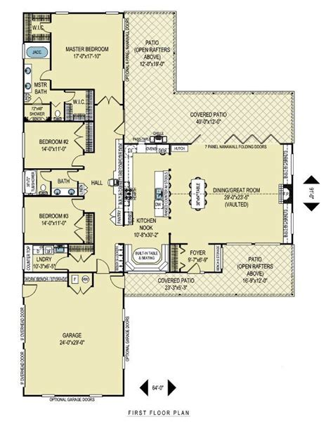 l shaped open floor plan t shape layout ranch house plans pinterest nooks
