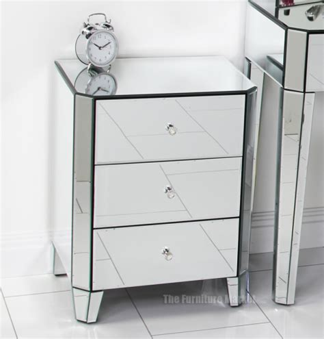mirrored glass bedroom furniture venetian deco mirrored glass 3 drawer bedside