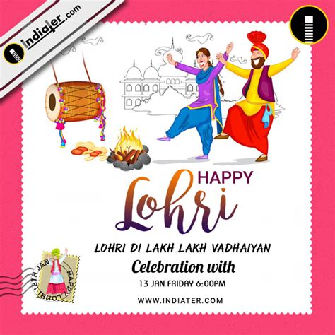 Lohri Invitation Cards Templates by Happy Lohri Invitation Postcard Greetings Design Psd